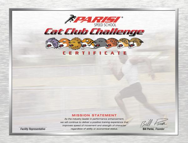 Cat Club Challenge Certificates