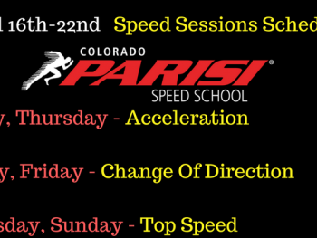 April 16th week Speed Sessions Schedule