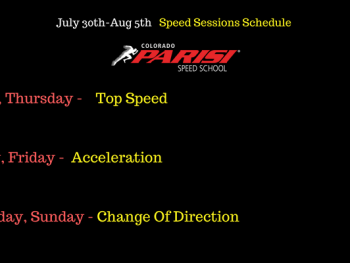 July 30th Speed Schedule