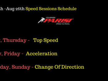 Aug 20th week speed sessions schedule