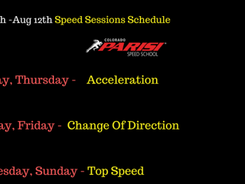 August 6th Week Speed Schedule
