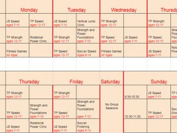 Fall Schedule – Aug 13th through Nov 4th