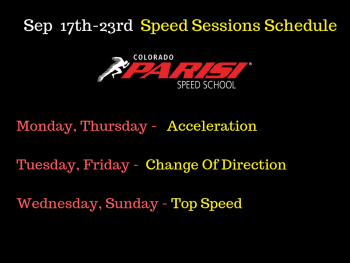 Sep 17th week Speed Sessions Schedule
