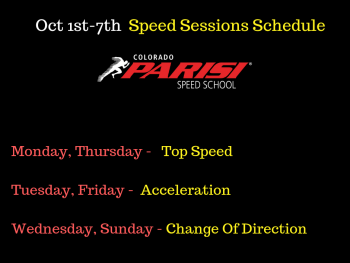 Oct 1st Week Speed Sessions Schedule